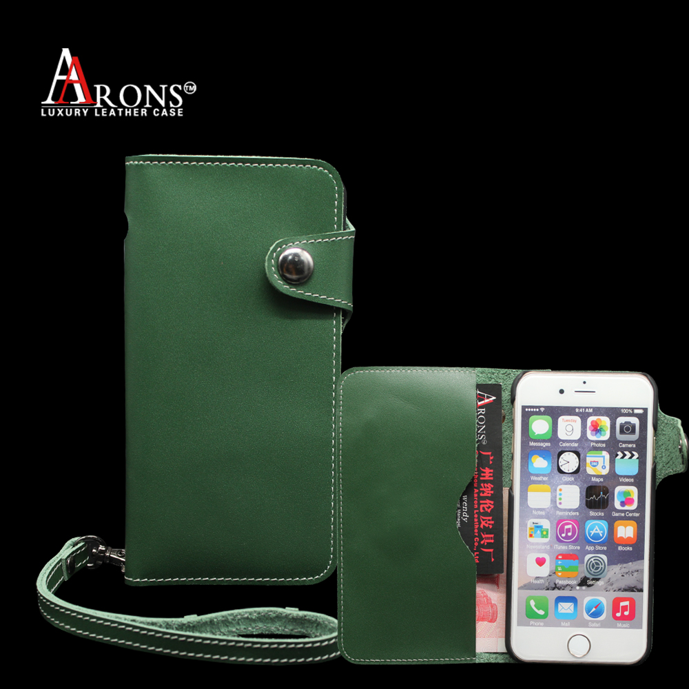 Ultrathin new green wallet phone case for iphone 6 leather case with hang rope