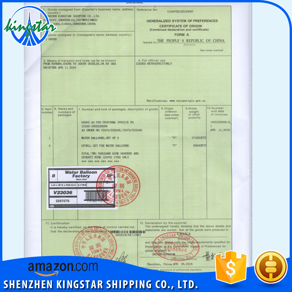 CHINA EXPORT FORM A GSP CERTIFICATE of ORIGIN