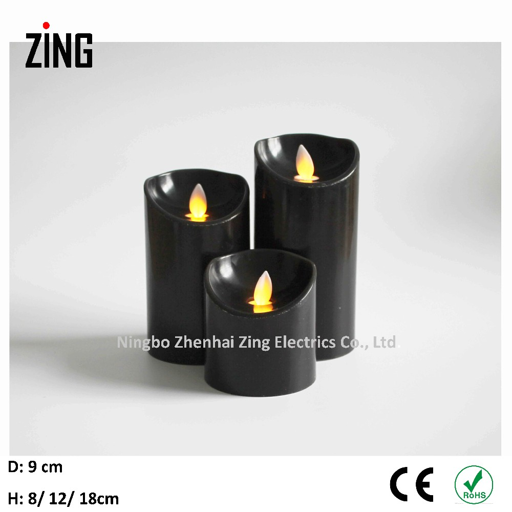 black luxury led candles white wax with white flame (WM-101-B)