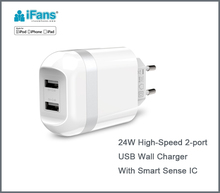 Dual-Port USB travel charger universal wall adaptor for cell phone and iPad tablet ,CE,ROHS,FCC certified