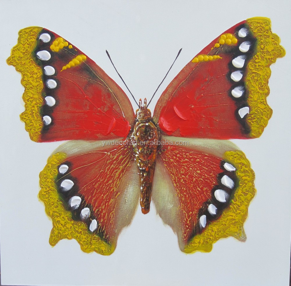 Hand painted cartoon butterfly canvas painting for wall decoration