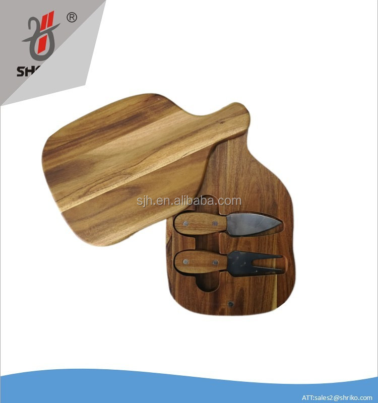 Acacia wood cheese board with knife
