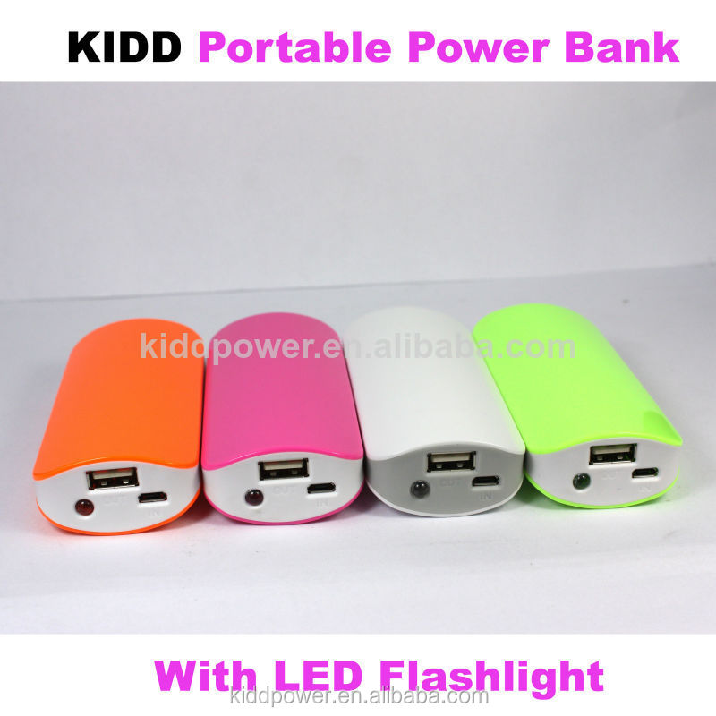 Colorful Portable power bank with LED flashlight power charger