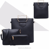 2018 New Arrival pu shoulder Messenger solid color three-piece suit For Fashion Women Wholesale cheap bags