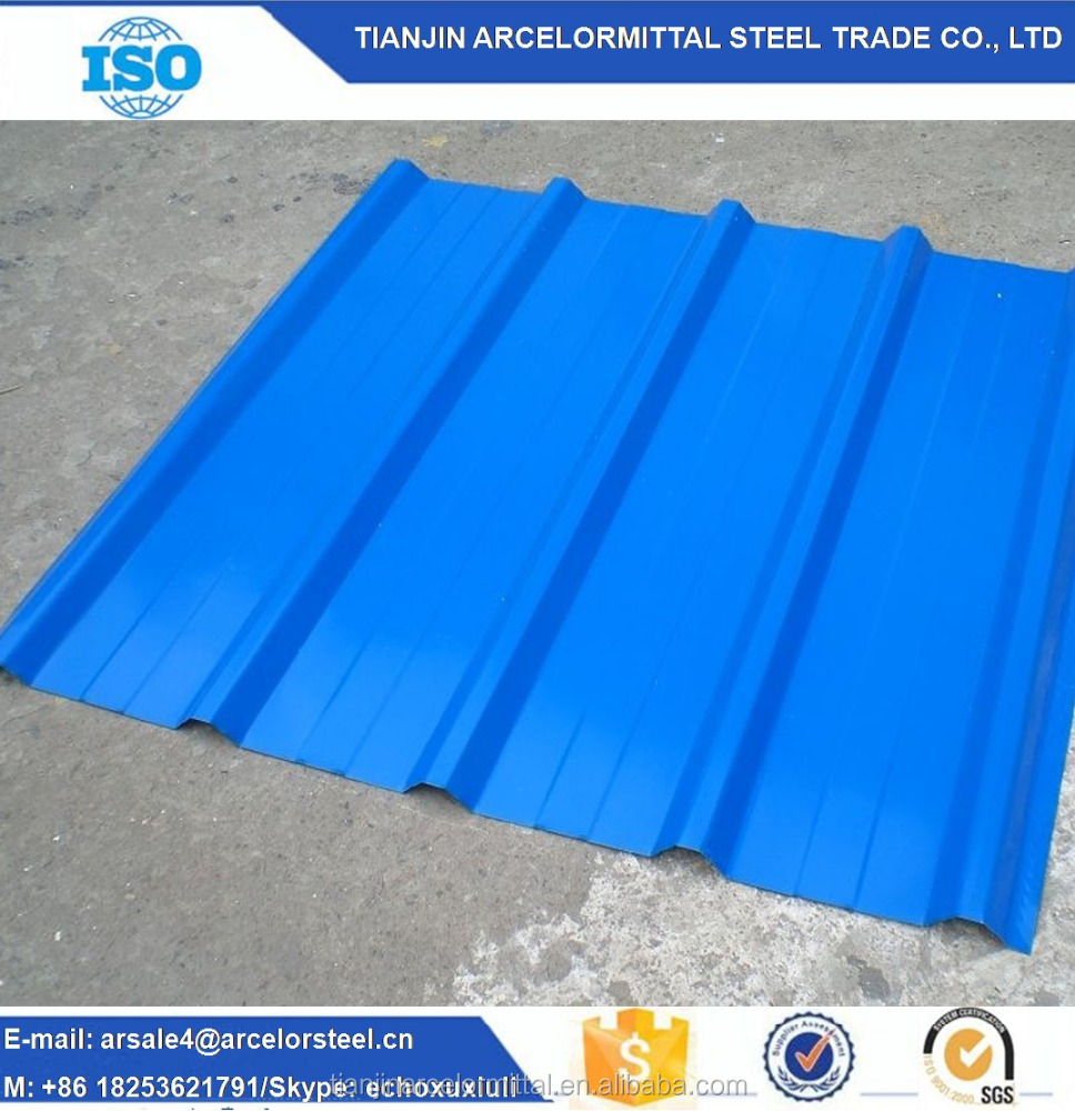 Color Coated Corrugated Roofing Sheet / Color Profiled Steel Sheets For Exterior Building Glass Walls