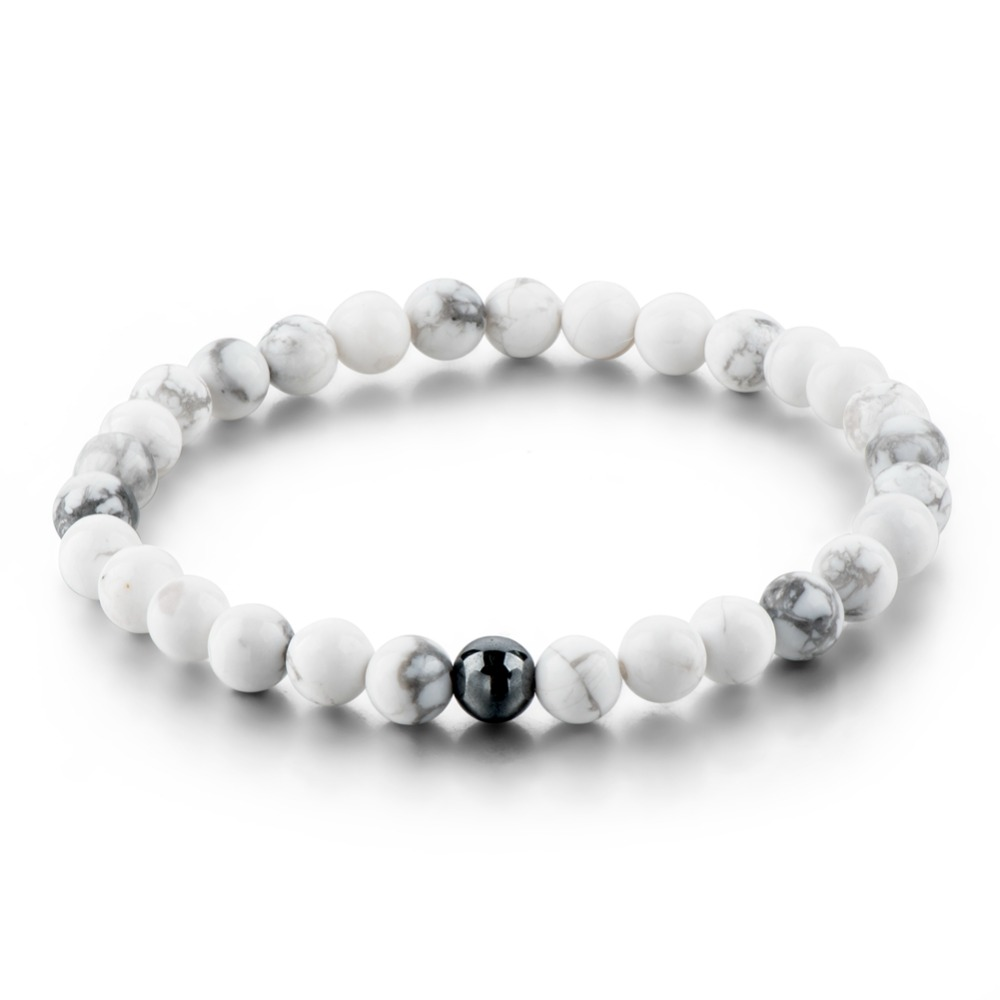 Top selling marble natural stone bead bracelet with magnetite stone