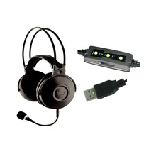 7.1 Surround Sound PC Gaming detachable mic Headset stereo LED logo light Computer USB game headphones