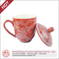 Chinese style red crystal glaze solid color coffee mugs