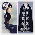Wholesale Embroidery Voile cotton muslim hijab shawls islamic scarves/scarf GBS193