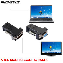 VGA Extender Female/Male to Lan Cat5 Cat5e/6 RJ45 Ethernet Female Adapter Converter