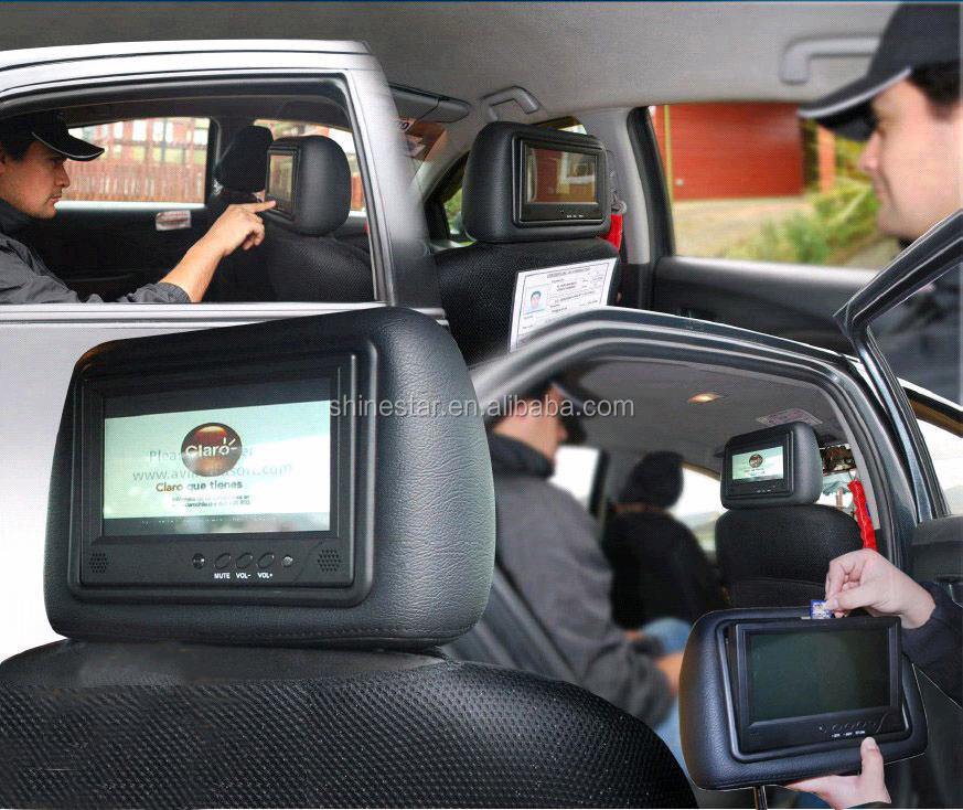 cab taxi digital signage 9 inch LCD advertising headrest player with body sensor