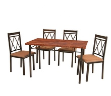 New modern style 5-Piece Dining Table Set Faux Marble top and Cushion Chairs for Dining Room <strong>Furniture</strong>