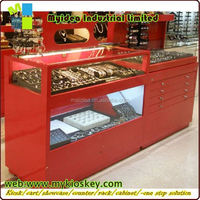 Customized creative design of jewellery store showcase wall mounted showcase designs
