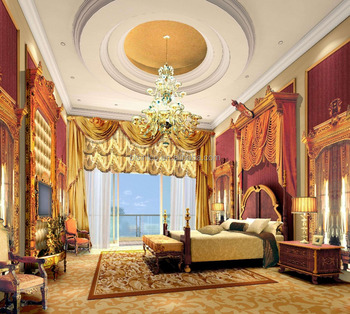 Classical European Style 3D Rendering Design for Master Bedroom of Luxury Villa