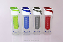 Fresh fruit infuser water bottle, translucence plastic healthy sport water bottle, BPA FREE plastic bottle