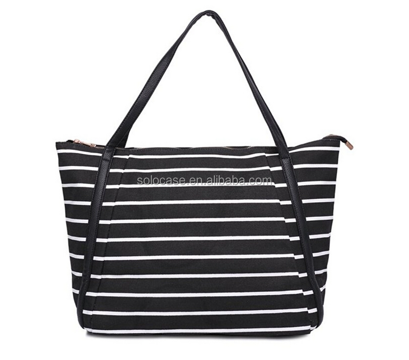 Summer Vacation Casual Women Large Canvas Stripe Tote Bag
