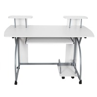 White office computer desk/large PC desktop/computer table with wheels