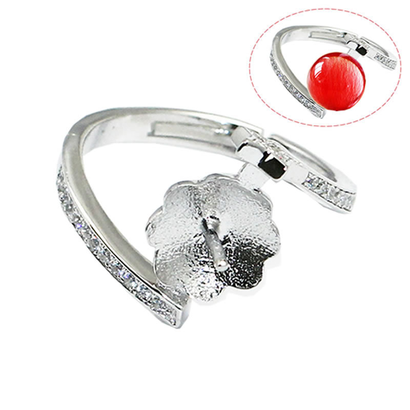 Beadsnice ID30603 setting adjustable US ring size 7 to 9 fit 8.5mm round sold by PC 925 silver rings mountings