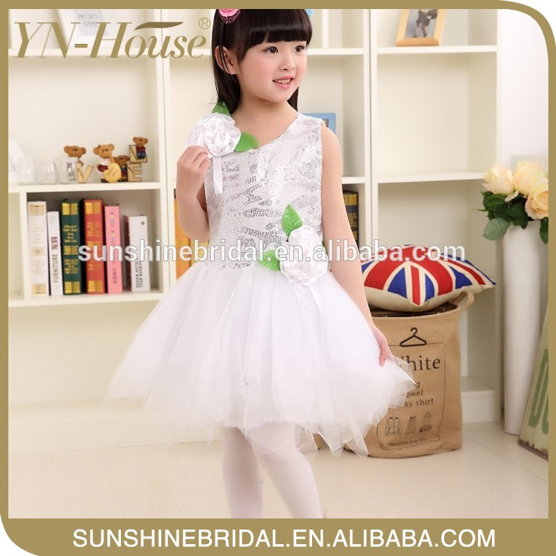 cute baby party wear silk flower girl dress