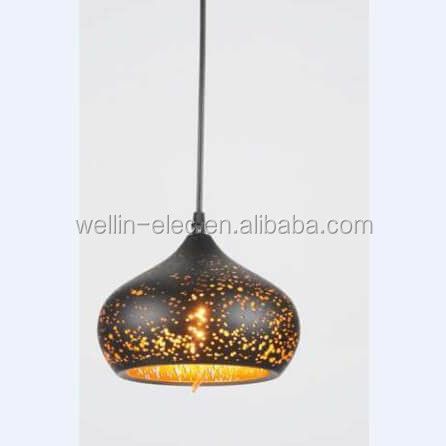 LED Modern Ceiling Lamp, Decorative Ceiling Lamp Autumn Hollow Out Antique Rusty Golden Pendant Light