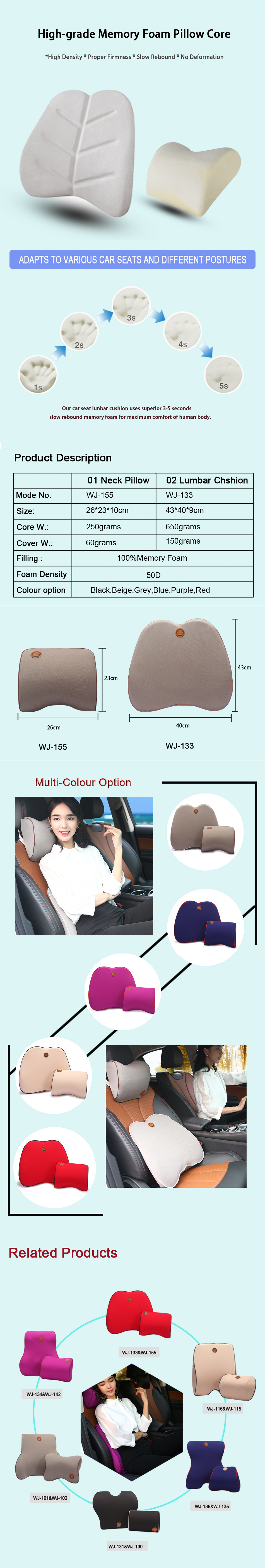 Memory Foam Car Seat Neck Pillow Headrest Cushion for Neck Pain Relief&Cervical Support,Lumbar Support Pillow/Back Cushion