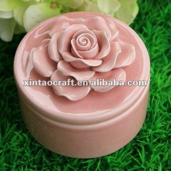 Enamel Porcelain Cylinder Jewelry Box with Flower Shape Lid Cover