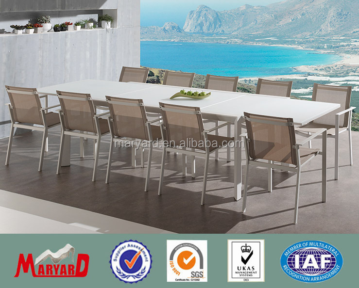 Family Dining Table Set Outdoor Aluminum Extension Table with 10 Chairs