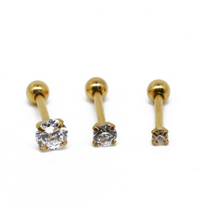 Gold plated ear cartilage piercing jewelry set prong set cz gems