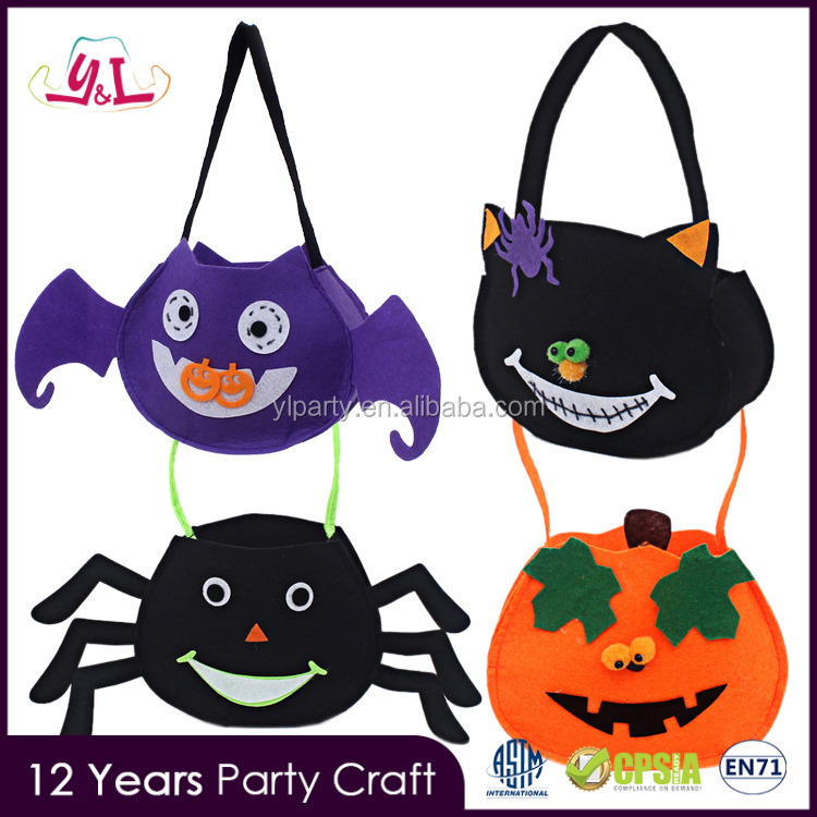 2016 party supply kids decorative handmade felt bag for halloween