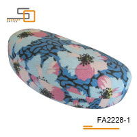 Blue flowers canvas material hard sunglasses case