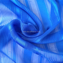 wholesale 75D polyester stripe silver jacquard fabric for lady dress