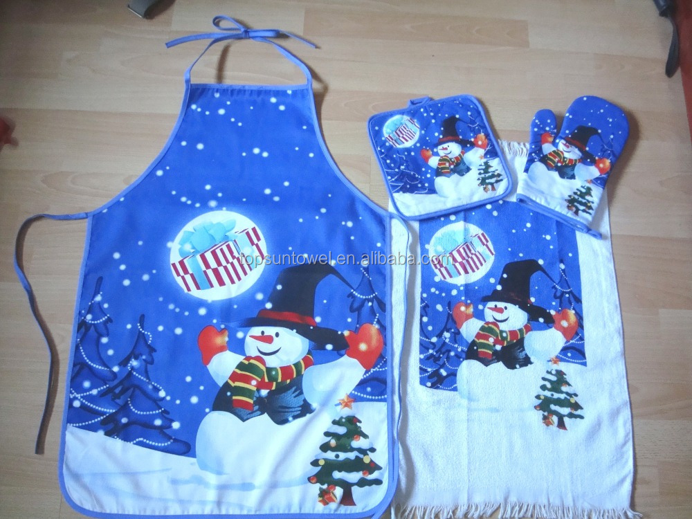 customized cotton kitchen apron set christmas