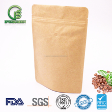 Eco friendly Custom Print Aluminum Foil Lined Brown Craft Paper Bag with zip lock