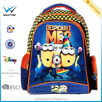 Custom design new style Despicable me Minions cartoon school backpack for kid, colorful school backpack bag NBCUniversal factory