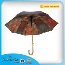 Long curve wooden handle printed inside straight double layer umbrella