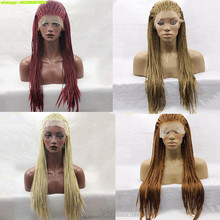 4 styles african american synthetic hair lace front micro box braid wigs