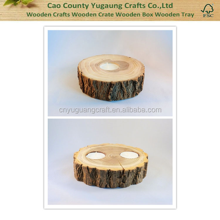 2016 Fashion Rustic Natural Home Decoration Round Wooden Candle Holder For Sale