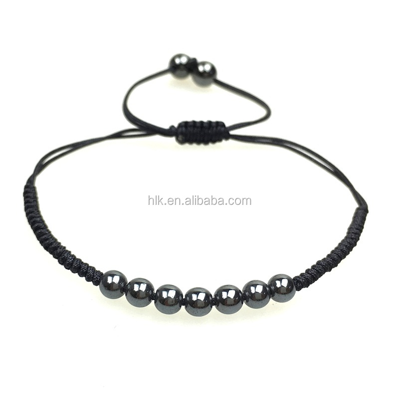 Natural Healing Stone Product 6MM Magnetite Beads Simple Style Bracelet
