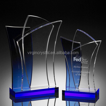 New design blue crystal shield trophy glass plate award business gift