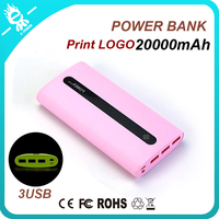 3 USB 20000mah ipower slim mi rohs portable power bank charger with led light