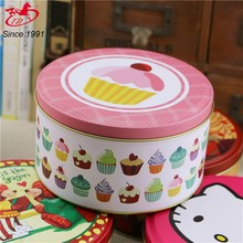 height can be changed Flat lid round tin can for biscuit / cookie