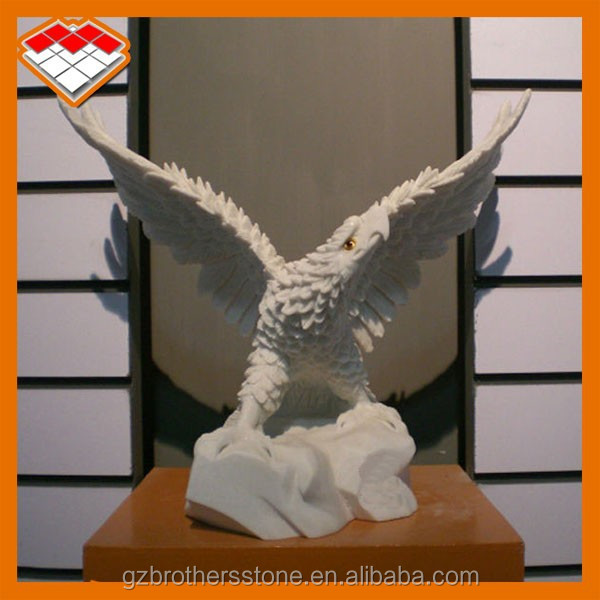 Hand carved white marble stone interior small statue decorative eagle