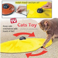 new 2016 yellow undercover cat's meow healthy plush pet cat toy for moving mouse in pet toy