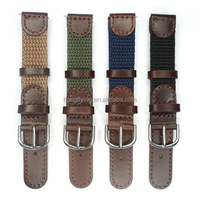 16mm 18mm 20mm 22mm Italian Oil Genuine Leather Joint Nylon Watch Band Strap Men