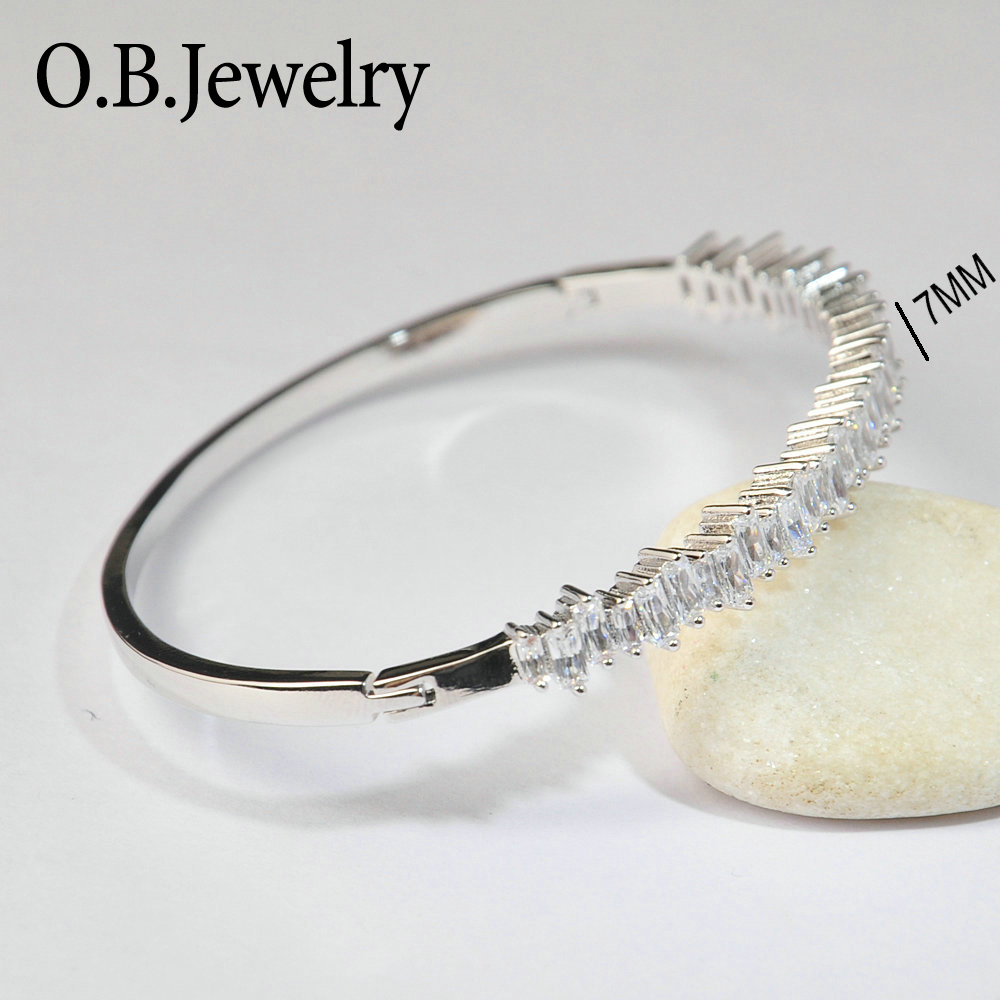 Fashion Latest Ladies Charm Bracelets White Gold New Model CZ Jewelry Bracelet