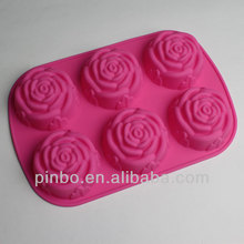 6 Cavity Flowers Silicone Non Stick Cake Bread Mold Chocolate Jelly Candy Baking Mould
