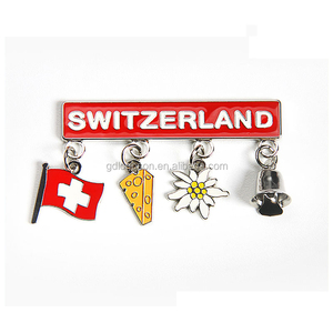 Factory Price Tourist Souvenir Metal Fridge Magnet Switzerland Flag, Cheese, Edelweiss, Dinner Bell Fridge Magnets