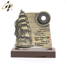 Custom zinc alloy 3D antique gold sailboat metal award champions trophy