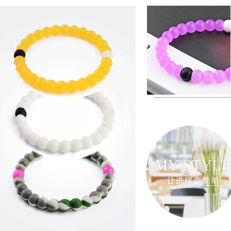 Promptional Popular Fashion Trendy Jewelry Band Custom Colorful Silicone Bead Bracelet