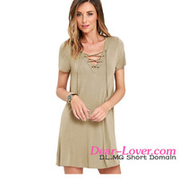 Khaki Lace-up girls cotton masakali swing Dress elegant casual dress